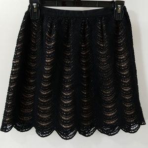 Club Monaco Black Crochet A-line Skirt Size 00